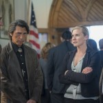 Robert Taylor, Lou Diamond Phillips, Katee Sackhoff and Adam Bartley in LONGMIRE. ©Netflix. CR: Lewis Jacobs.